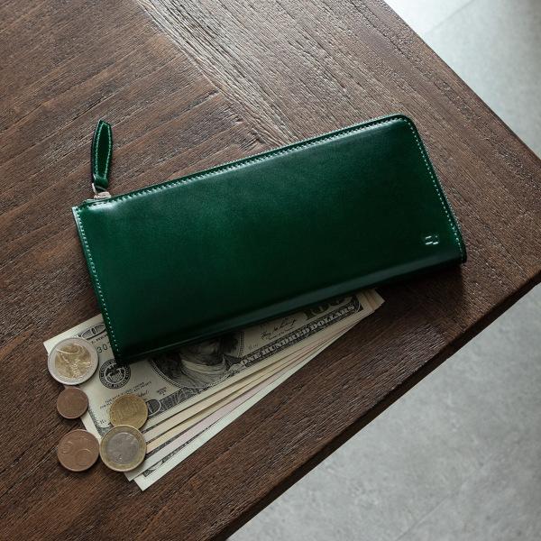 アニリン染めコードバン L字ジップ長財布